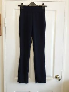 Kim & Co Ponte Crepe Narrow Leg Wide Waistband Trouser Regular Navy Size XS BNWT