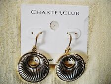 NEWCHARTER CLUB SILVER/GOLD TONEDROP-DANGLE HOOPS, FRENCH WIRES