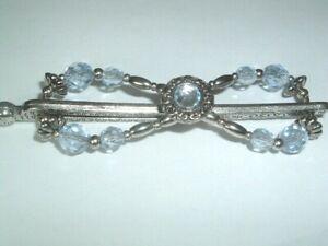 Lilla Rose Medium Sky Blue Crystal Flexi Hair Clip Barrette in Gift Box