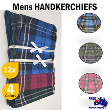 12x 100% Pure Cotton Mens HANDKERCHIEFS Pocket Square Hanky Handkerchief Bulk AU