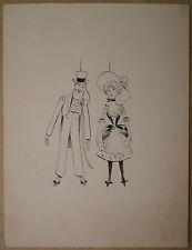 Beau Dessin Ancien Encre Pantins Marionnettes LUCIEN METIVET c.1900