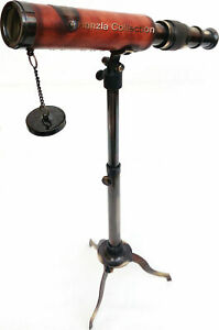 Marine Spyglass Telescope With Adjustable Tripod Stand Antique Brass/Leather