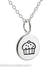 Tiny Cupcake Tag Necklace - 925 Sterling Silver - NEW Charm Sweet Cake Dessert