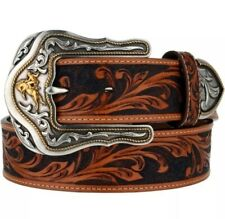 Tony Lama Western Mens Belt # 34 Leather Tooled Westerly Rider Made In USA Tan