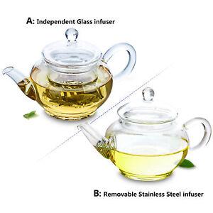Mini Elegant Heat Resistant Glass Small Flower Coffee Pot Teapot with Filter
