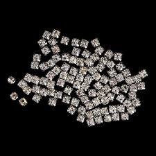 100 x 5mm Sew on Silver Rhinestones Clear Glass Crystal Diamante Craft Wedding