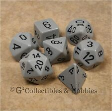 NEW 7pc Set Opaque Grey w/ Black RPG Dice in Box D&D Game Chessex 7 piece D20 +