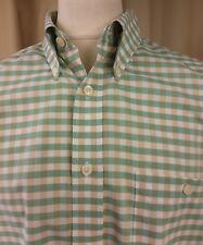 Orvis 100% algodón manga corta botones verde/blanco/amarillento compruebe Camisa XL