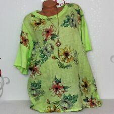 Süßes T-Shirt Shirt Bluse Tunika Leinen Mix Blume 42 44 46 Italy