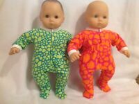 "Bitty Baby 15"" doll clothes outfits twins girl boy pink blue sleeper pajamas pjs"