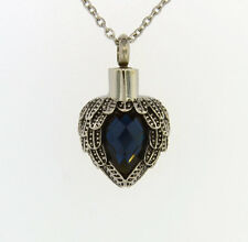 Angel Wings Wrapped Around Dark Blue Colored Stone Cremation Jewelry Necklace