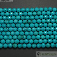 Natural Turquoise Gemstone Faceted Round Beads 2mm 3mm 4mm 6mm 8mm 10mm 16""