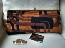 VINTAGE 1960s ART DECO STYLE VELVET CLUTCH BAG HARMONY ENGLAND ELBIEF FRAME GIFT