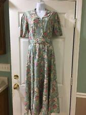 Vintage Laura Ashley Belted Floral Dress Button Up Size 6