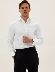 NEW RRP £29.50 Ex Marks and Spencer Slim Fit Non Iron Twill Shirt
