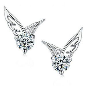 Titanium Ohrhänger Creolen Ohrringe Hänger Engelsflügel Flügel Silber Damen II