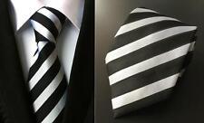 Silver and Black Striped Handmade 100% Silk Tie