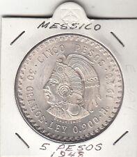 MESSICO MEXICO 5 PESOS 1948 SILVER GR. 30 TITOLO 900 CUAUHTEMOC ARGENTO REGALO