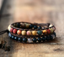 Natural Rock Lava Stone, Onyx & Jasper Beaded Wrap Bracelet Leather Cuff Black