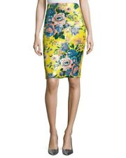 NWT Diane von Furstenberg Yellow Tailored Floral-Print Pencil Skirt 0 $298