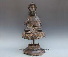 Tibet old purple Bronze Kwan-yin sit Rotating lotus Guan Quan yin Buddha Statue