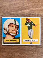 1957 Topps Tommy McDonald Rookie RC Hall Of Fame HOF Eagles Football Card #124