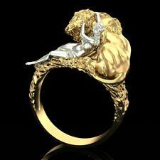 grande anello scultura leone dorato - gold tone sculpture punk animal ring