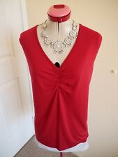 YARRA TRAIL WOMAN Red Russet TOP Size M 18 BNWT NEW Sleeveless Stretch Classic