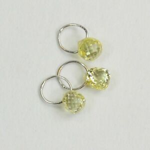 18K Solid White Gold Faceted Canary Yellow Diamond Teardrop Briolette Charms (3)