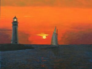 Ron Kucinski Schooner Departing the Erie Basin Original Acrylic Painting16x20