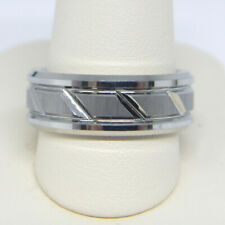TRITON MEN'S 8.0MM COMFORT FIT SLANT WHITE TUNGSTEN CARBIDE WEDDING BAND RING