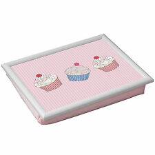 Pink Lap Tray Cupcakes Bean Bag Cushioned Padded Home Serving Food TV Bed Dinner