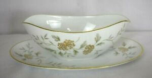 Noritake Antique Gravy Boat with attached Underplate Janice #5814