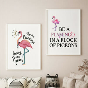 2pc/set Flamingo Wall Art Canvas Poster Print Nordic Decoration Picture Painting
