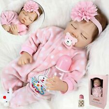 22'' Reborn Puppe Lebensecht Handgefertigt Silikon-Vinyl Sleeping Baby Spielzeug