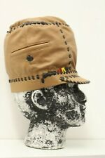 RASTA TAN COLOUR LEATHER CROWN HAT WITH BROWN STITCHING POCKET DETAIL HAND MADE