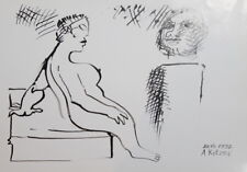 1991 - ABSTRACT MODERNISM NUDE FIGURES INK PAINTING SIGN.