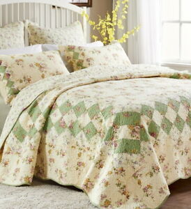 COTTAGE IVORY 3p King QUILT SET : BLISS VINTAGE ROSE GREEN FLORAL LILAC COUNTRY