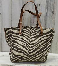 MICHAEL KORS Large Grab Bag Shoulder Purse Tote Canvas Zebra print (b12)