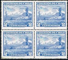 CHILE 1961 STAMP # 649 MNH BLOCK OF FOUR VOLCANO