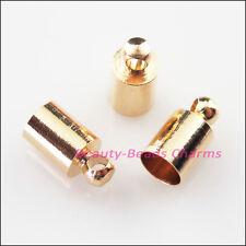 25Pcs Crimp End Caps for Chains Cords Leather 5x10mm Champagne Gold Connectors