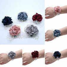 Flowers Wrist Corsage Pearls Bead Bracelet Wedding Prom Party Bridesmaids Decor