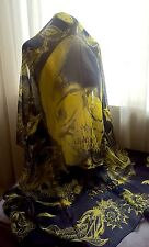 NEW Alexander McQueen Scarf Aquatic Skull Scarf in Blue / Yellow