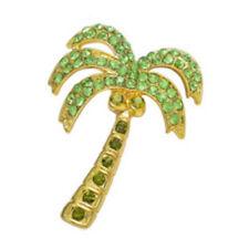 Green Leaf Palm Tree Tropical Crystal Hawaiian Beach Party Brooch Pin Party W5L6