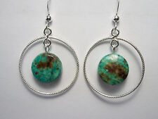 SALE   Turquoise and 925 Sterling Silver Ringed Earrings