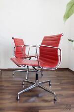 2er Set Eames Vitra Alu Chair EA 108 Leder ROT GlanzCHROM für Farbfans