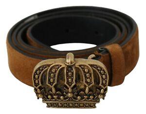 DOLCE & GABBANA Belt Brown Velvet Leather Gold Crown Buckle 90cm/3