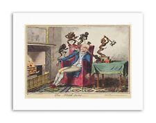 Satire 1819 Cruikshank Head Ache Painting Canvas Art Print