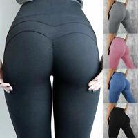 Women High Waist Yoga Pants Ruched Butt Lift Leggings Workout Running Fitness P2