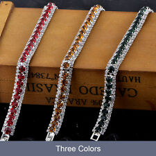 wedding charm bracelet silver Filled white gold filled tennis fashion crystal